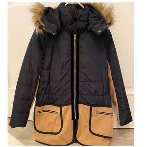 Navy blue and tan women's hooded jacket